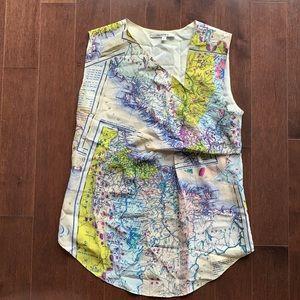 RARE Carven Map Wanderer Travel Print Silk Top